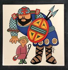 New listing David & Goliath Jerusalem Pottery 6 x 6 Ceramic Hand painted Tile Karakashian