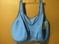 Glamorise Sports Bra 48DD unlined wirefree Blue (8-1545-W