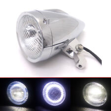 Chrome LED Bullet Headlight With White Angel Eye Light For Harley Chopper Bobber
