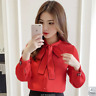 Chiffon Tops Long Sleeve Spring New Shirt Womens Slim Bow Tie Neck Office Blouse