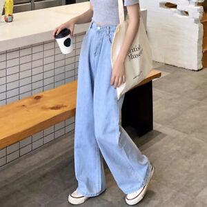Women Jeans High Waist Denim Pants Palazzo Trousers Wide Leg Loose Casual