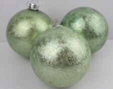 Gisela Graham Natale Damasco Verde Pallido VETRO Bauble Palla Decorazione x 3