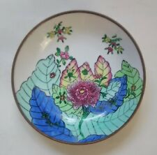 """Vintage Brass & Porcelain Hand painted Bowl, 7"""" China"""