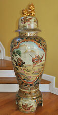 Impressive Satsuma Palace Vase or Covered Urn Samurai Horseback Battle Scenes 4'