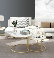 Imitation Marble Nested Coffee Table Round Side Bedside Table Metal Frame 1&2Pcs