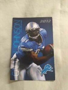 2012 Detroit Lions Calvin Johnson Labatt Blue/Blue Light Beer pocket schedule