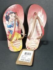 Havaianas Pink/Tan Disney Princess White Youth Size 9C Flip Flops NEW