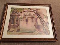 vintage original WATERCOLOR by artist BERNARD LOUIS BORIONE flooded temple