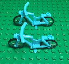 Lego X2 New Medium Azure Bicycle / Mini Figures  City Town Utility Riding Cycle
