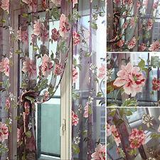 Floral Room Door Sheer Voile Window Valances Panel Drape Curtain Tulle Scarfs