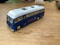 Collectable Blue Diecast metal toy Johnsons Crisp royal bus. Saico SS 5856.