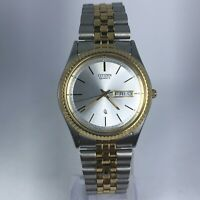 Citizen Mens 1102-R12535 Two Tone Stainless Steel Day/Date Indicator Watch