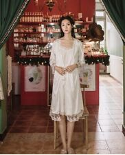 Luxurious White Vintage Victorian Ladies Womens Robe and Nightdress Set ladpj298