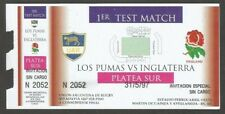 Argentina Rugby 1st Test Match Ticket Los Pumas Vs England 1997
