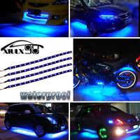 "4pcs Blue 12"" 30CM 15 LED Car Motors Truck Flexible Strip Light Waterproof 12V"
