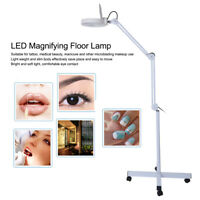 Adjustable 8X Magnifying LED Lamp with Floor Stand Cold Light Reading Medical US
