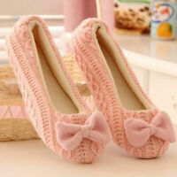 Women House Slippers Bow Floor Soft Winter indoor  Bedroom Ladies Outsole Shoes