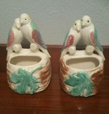 Vintage Pair Love Birds on Nest Wall Pocket Planter -Hole for Hanging Set of 2