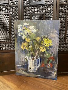 Huge Mid Century Oil On Canvas Floral Still Life Vintage Antique Impressionist