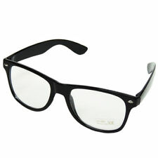 Black Retro Unisex Celeb Style Clear Lens Geek Teacher Sunglasses inc Pouch