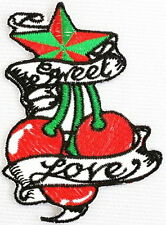 Sweet Love Cherry Star Tattoo Rockabilly Cherries Iron On Embroidered Patch