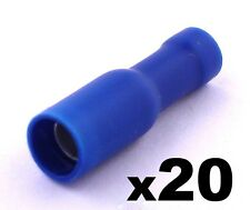 20 x Blu Femmina Connettore Della Pallottola Isolante Terminali A Crimpare per