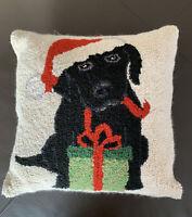 Christmas Holiday Dog Santa Hat Gift Wool Rug Hooked Decorative Pillow 15x15