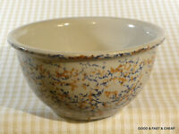 "Antique Spongeware Mixing Bowl 8 3/4"" Brown/Blue MARKED # 8"