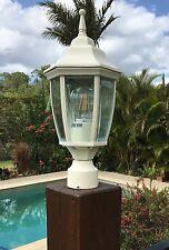 Cream Outdoor garden pole mounted lamp - Coach light + LED bulb