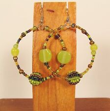"2"" Green Gold Color Mixed Bead Handmade Bohemian Seed Bead Round Hoop Earrings"