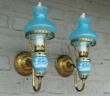 PAIR French vintage opaline Blue glass  turquoise Wall lights sconces romantic