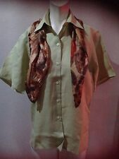 Ladies Mayfair of London Size 10 100% Linen Summer Green Casual Shirt £4 free pp