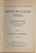 1931 Metropolitan Opera Libretto Simon Boccanegra Fred Rullman Knabe Piano
