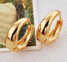Handsome 9K Solid Gold Filled Womens Smooth Hoop Earrings,20mm,Z4493
