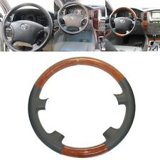 Gray Leather Wood Steering Wheel Cover for 2003-07 Land Cruiser 4700 470 Prado