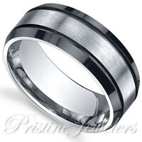 🔥 Black Titanium Mens Ring Silver Matte Brushed Center Engagement Wedding Band