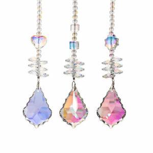 Set 3 Coating Crystal Suncatcher Chandelier Prism Pendant Hanging Ornament Decor