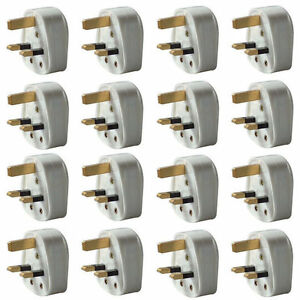 New! Pack of 60 Standard UK Fused 13A 13 Amp White Mains 3 Pin Household Plugs