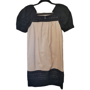 Cute Robert Rodriguez shift tan and black silk/linen blend dress puffy sleeves 0