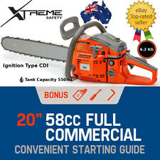 "58cc Petrol Commercial Chainsaw 20"" Bar Easy Start Tree Pruning Chain Saw"
