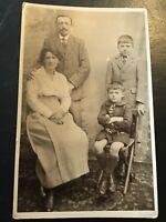 Vintage Postcard Real Photograph Portrait Of Family Portrait.