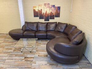 Plush Elegant Brown Leather Corner Sofa