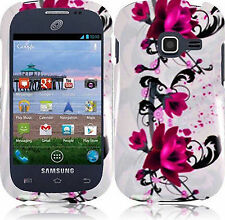 Samsung Galaxy Centura S738C HARD Case Snap On Phone Cover White Purple Flower