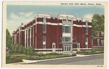 Auburn ME Maine Edward Little High School Linen Vintage Postcard