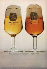 """1965 Lowenbrau Munich Beer """"Now that you see the Light, try the Dark""""  PRINT AD"""