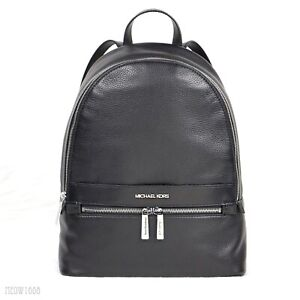 Latest Michael Kors KENLY Black Pebble Leather Large Backpack