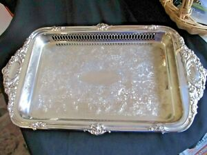 VINTAGE SILVER PLATED TRAY VINERS LABEL EMBOSSED & ETCHED  24 x 44 cms