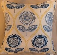 A 16 Inch cushion cover in Laura Ashley Sunflower Denim Fabric