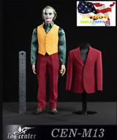 "1/6 CEN-M13 DC Joker Red Suit Full Set Arthur for 12"" figure Hot toys BD002❶USA❶"