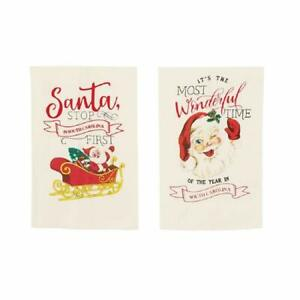 Mud Pie South Carolina Santa Stop Here Christmas Towel